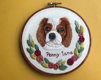 Custom Pet Portrait Embroidery Hoop Art Hand Embroidered Personalized Embroidery Dog Portrait Art by Hoffelt and Hooper Co