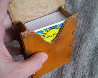 Tarot leather deck box case bag Rider Waite cards - riveted