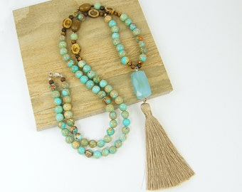 Long Boho Tassel Necklace  Aqua Gemstone Necklace Aqua Tassel Necklace Blue Chalcedony Necklace Long Turquoise Necklace |UP