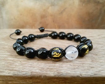 Shamballa bracelet Buddha OM bracelet Black Shamballa Onyx Men bracelet Om jewelry Yoga bracelet Mantra Om mani Padme hum Energy bracelet