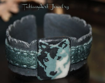 Amazing Wolf Polymer Clay bracelet Wolf Bracelet Gift for Women tribal accessories tribal jewelry clay hand band wolf design girl ghift