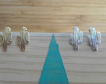 Boucles d'oreilles Cactus | acier doré  | Joli bijou minimaliste  | Mexique 2017 | Cadeau mignon pour elle | Nôel, anniversaire, nouvel an