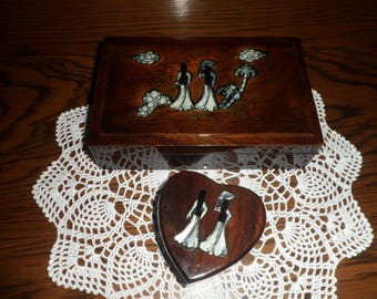 Vietnamese Lacquered Jewellery Box and Heart Trinket Box