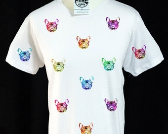 French Bulldog Acid Coloured Face Pattern T-shirt
