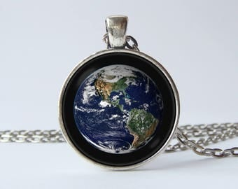 Planet Earth pendant Necklace Earth Planet pendant Planet necklace Earth jewelry Earth jewellery Blue planet Space gift Birthday gift Cosmos