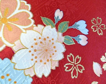 Japanese Silk KIMONO Fabric - Flowers and Kanze Waves (sample)