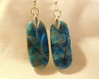 Blue crazy lace agate and sterling silverdrop earrings