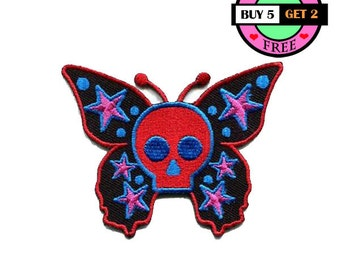 Black Butterfly Skull Embroidered Iron On Patch Heat Seal Applique Sew On Patches