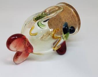 Blown Glass Fish Stash Jar