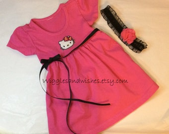 Hello Kitty dress, infant dress, baby girl dress