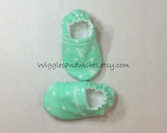 Jesus loves me crib shoes, baby shoes, booties, loafies, mint green, newborn, preemie, reborn, toddler