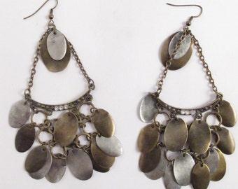 Heavy Gypsy Metal Dangle Drop Earrings Chandelier Earrings