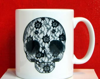Coffee Mug with a #DeadPullipSociety Lace Skull design