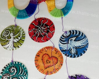 Another ohm wind chimes with 7 Capiz shells, mobile Goa