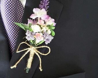 Lavender boutonniere, vintage boutonniere, groom boutonniere