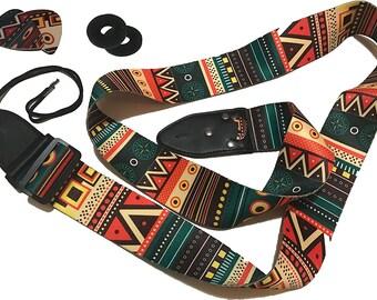 Aztec Guitar Strap - Vintage Colors Guitar Belt Set Includes 2 Strap and 2 Picks. Adjustable Polyester Guitar Strap - Gift For Guitar Player
