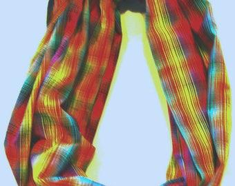 Cotton Scarf, Infinity Scarf, Rainbow Plaid Scarf, Rainbow Infinity Scarf, Dressy/Casual Infinity Scarf, Light Weight Infinity Scarf