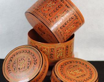 Handmade Myanmar Burma Laquer Box Container Set WM 102