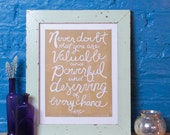 Hillary Clinton Quote Poster, Handmade Linocut Print, Inspirational Quote, Block Print Art, Wall Hanging