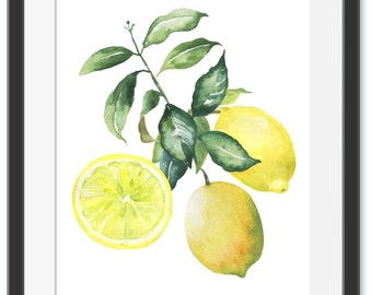 Lemon Print Instant Download Lemon Poster Watercolor Art Watercolor Lemon Kitchen Print Citrus Fruit