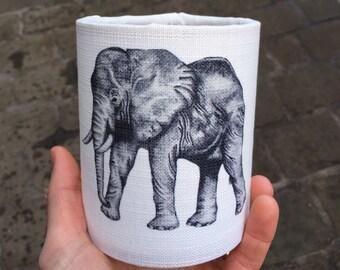 Hand Sketched Elephant Animal Lantern - Tea Light Cover - Nightlight