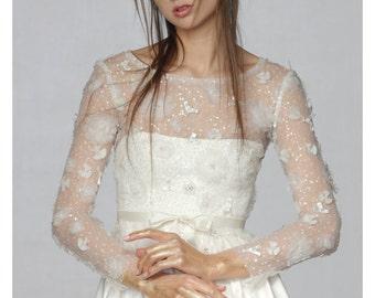 Bridal Lace Top, Bridal Separates, Rustic Wedding Blouse, Floral Wedding Top, Long Sleeve Wedding Top, Wedding Lace Top, Sheer Wedding Top