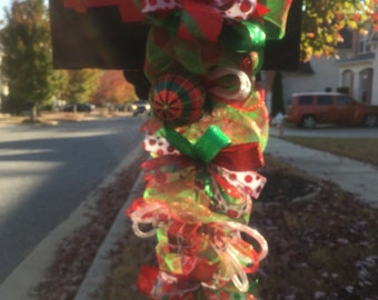 Christmas Swag, Skinny Christmas Swag, Skinny Christmas Wreath, Mailbox Swag, Res & Green Swag, Swags, Wreaths, Door Decor
