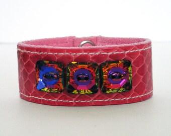 Pink Snakeskin Bracelet with Swarovski Crystals, Snakeskin leather bracelet, Snakeskin Accessory, Pink, Free Shipping in the U.S.