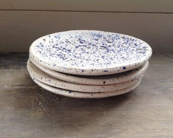 Handmade ceramic 5in dish white with blue & brown speckles, perfect for dipping, prep bowl, soap, trinkets and jewellery. Rustic pottery