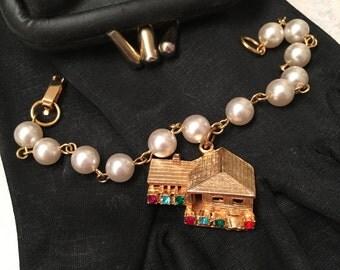 SIGNED Hobco House of Borvani Bracelet, Rare Hobco House of Bordani Faux Pearl Bracelet, Gold Hobco Charm Bracelet, Faux Pearl Bracelet