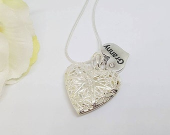 Heart Locket Necklace With a Relation Charm, Mum, Mummy, Granny, Nana, Family Necklace Pendant