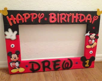 "Custom Photo Frame-Mickey, Monster Inc, Paw Patrol and more Happy Birthday decorations-PhotoBooth. Party frame 25 ""x"""