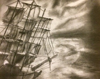 Ship in the Night Charcoal and Pencil Drawing  30cm x 30cm  Original Design Work Sailing Ship Pirate Ship Friggate Sails