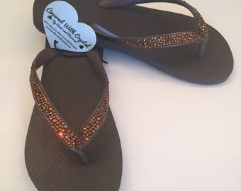Swarovski crystal flip flops in Chocolate Brown with Colorado Topaz handset, genuine Swarovski crystals