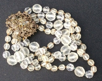 Vintage Four Strand Frosted and Clear Glass Bead Bracelet