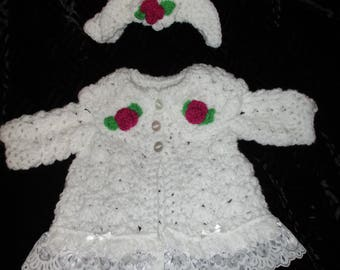 Hand crocheted baby reborn coat set