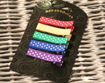Toddler Hair Clips, No-Slip, Set of Five, Pretty Polka Dots, Red, Yellow, Green, Blue & Purple, Mini Size, Perfect for Girls