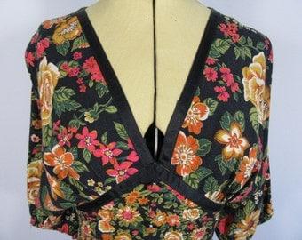 1970s Boho Hippy Floral C&A Dress-UK 8 Black Multi