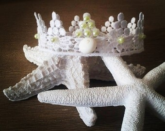 NEWBORN CROWN, Baby Crown, Lace & Seashell, Baby Prop, Photography Prop, Crown, Infant Crown, CrownsBaby Lace Crown Photo Prop