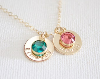 Gold Disc & Birthstone Necklace//Name Disc Necklace//Personalized Disc//Crystal Birthstone//Mother's Necklace//Children's Name Necklace