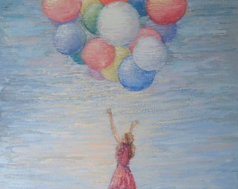 Original oil painting on canvas, Landscape, girl, balluns 70 x 100 cm,