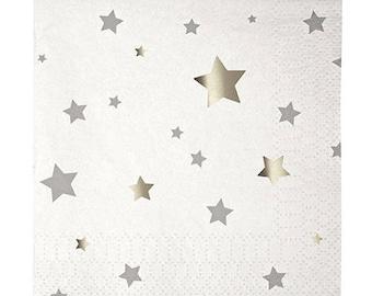 Star Party Napkins,White Party Napkins,Silver Star Napkins,White and Silver,Star Napkins,Grad Party Napkins,Silver Stars,Party Napkins