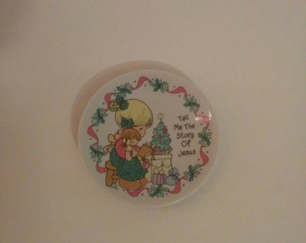 Vintage Precious Moments Small Christmas Plate Holidays Holiday Decorations Home Decor
