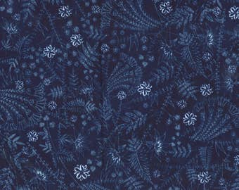 By The HALF YARD - Scatter Joy by Kathy Davis for Fabric Traditions, Pattern #13481-N Tonal Light Blue Floral on Navy Blue