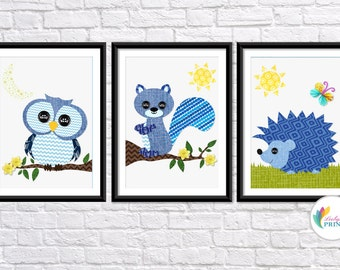 Nursery Forest Animal Prints - Set of 3 - Blue Nursery Prints - Blue Children's Wall Art - Boys Nursery Prints
