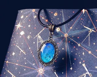 Scorpio pendant, zodiac jewelry, astrological necklace with shining galaxy art for Astrology lovers