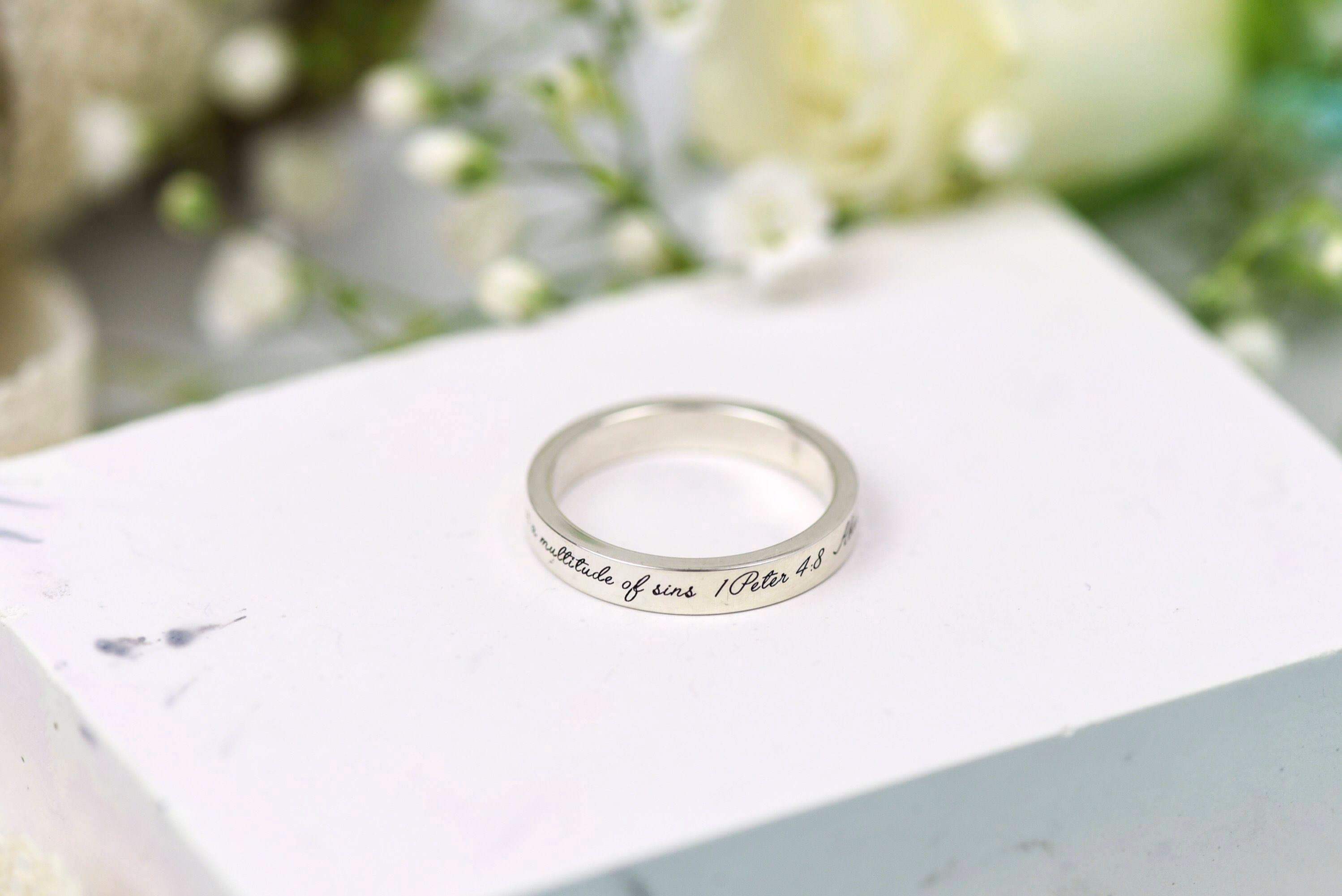 Wedding Band 1 Peter 4 8 Silver band Silver Ring Bible