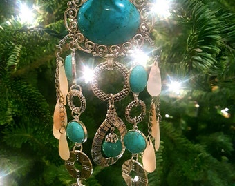 one of a kind Silver and  Turquoise dream catcher