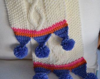 Kids / Childs hand knit cream Aran cable scarf with coloured croched trim with pom poms