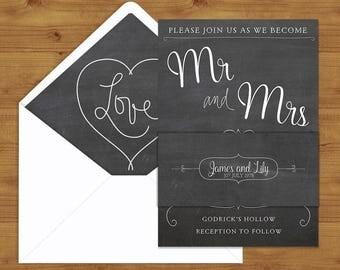 Chalkboard Slate Grey Belly Bands and Envelope Liners - Grey Wedding - Chalkboard Wedding - Wedding Invitation Extras - Wedding Stationery
